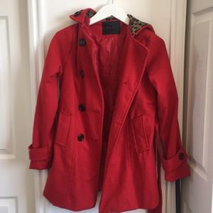Red leopard hooded pea coat